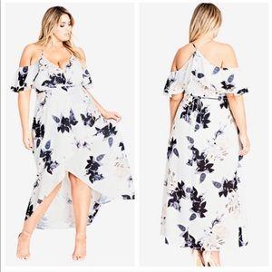 City Chic floral cold shoulder high low maxi dress